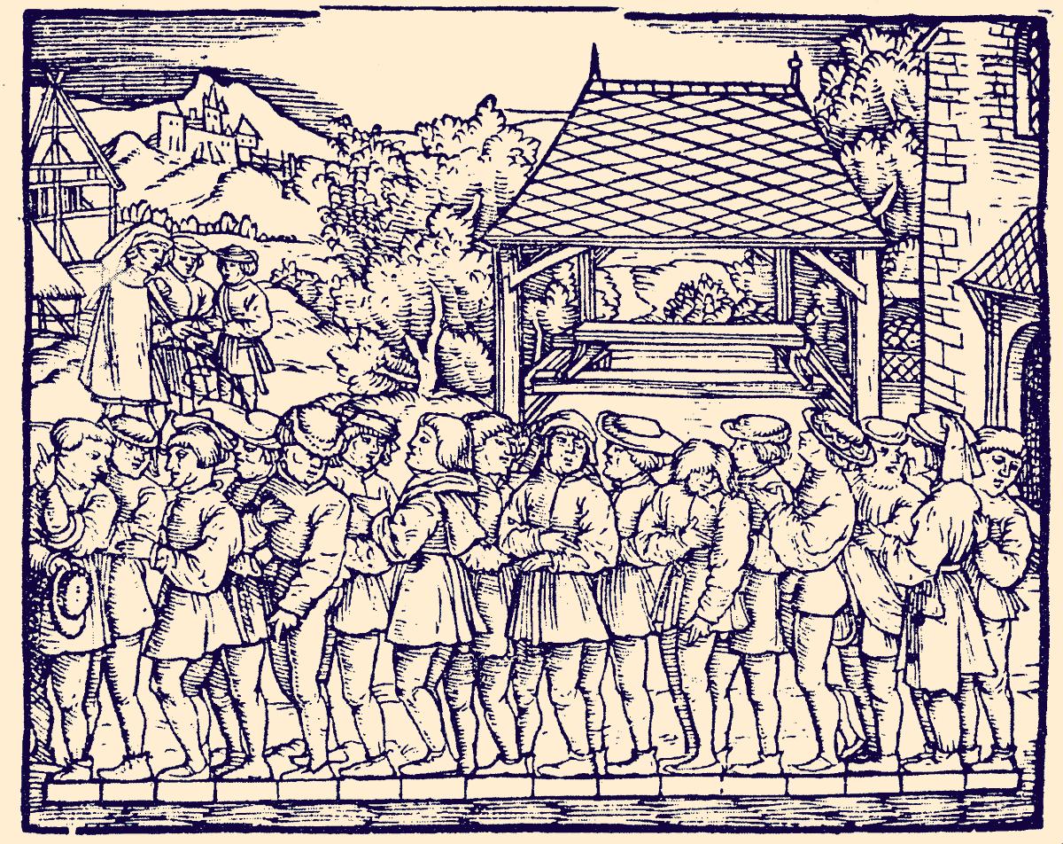 """Wyznaczanie średniej stopy. 1 pręt anglosaski =  16,5 stopy. Rycina z """"Geometrey"""" Jacoba Köbela (wyd. 1608 r.)"""